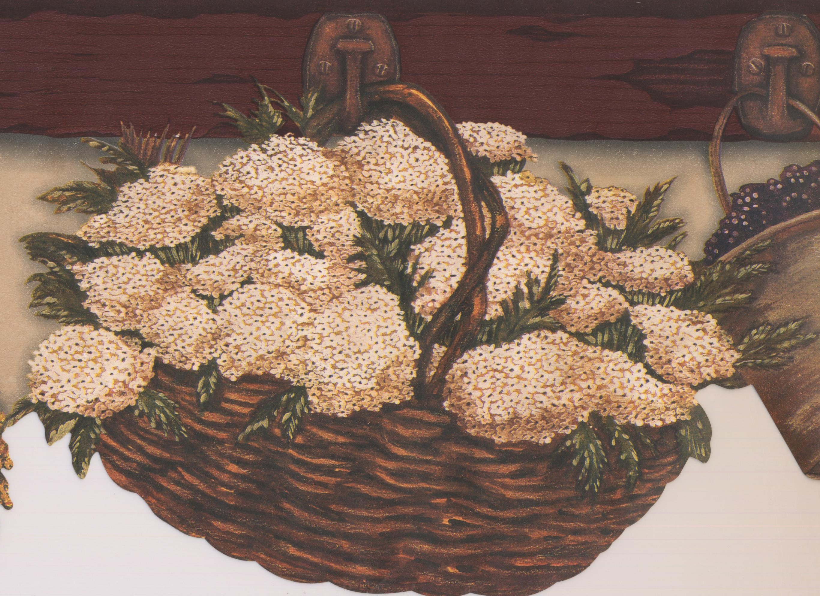 Brown Baskets Flowers Hanging On Kitchen Wall Hooks Country Wallpaper Border Retro Design Roll 15 X 6 5