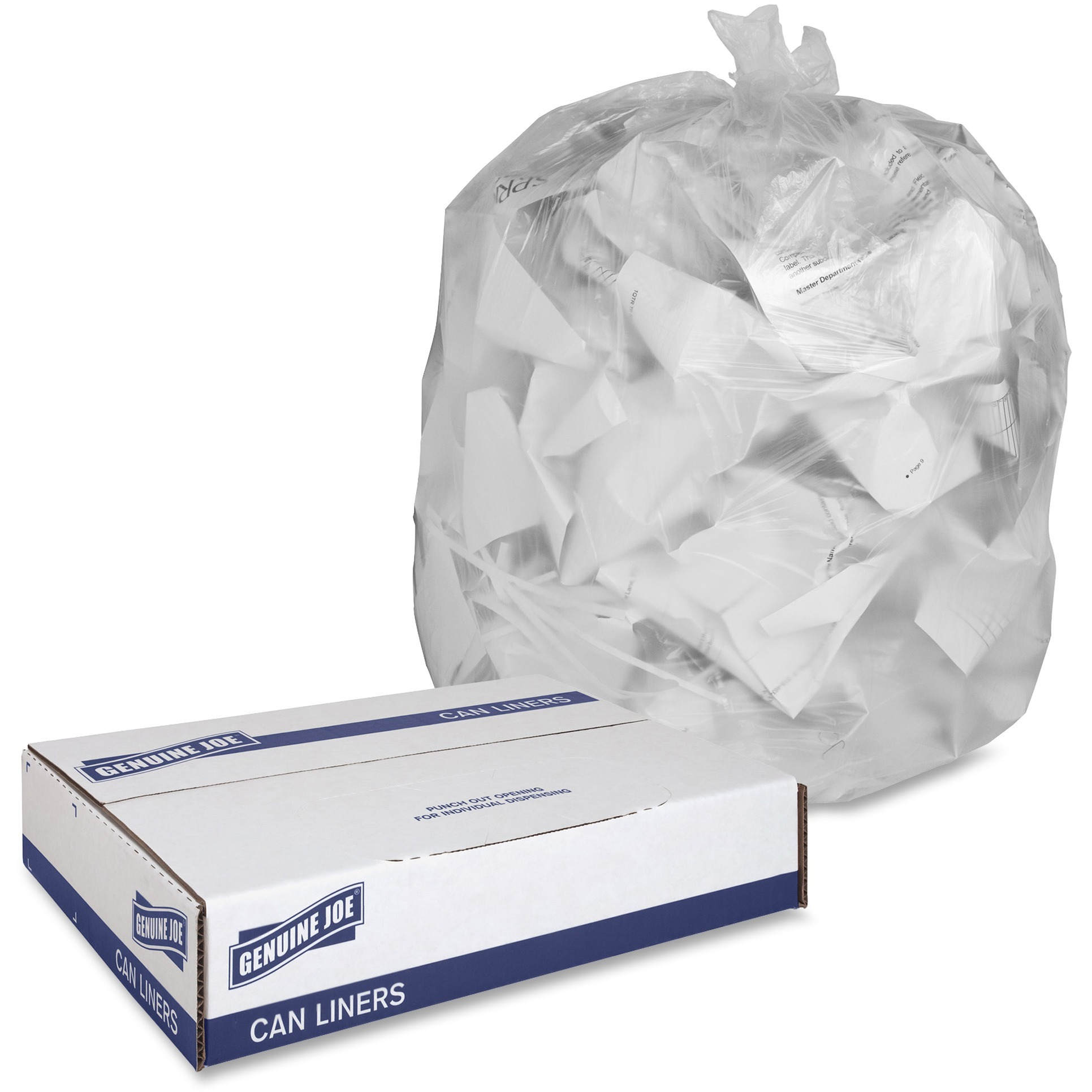 Genuine Joe, GJO70011, Economy High-Density Can Liners, 1000 / Carton, Translucent, 16 gal