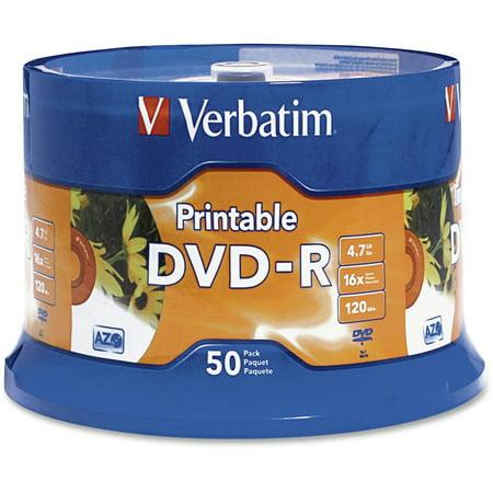 Verbatim (95137), VER95137, Inkjet Printable 16X DVD-R Spindle, 50, White