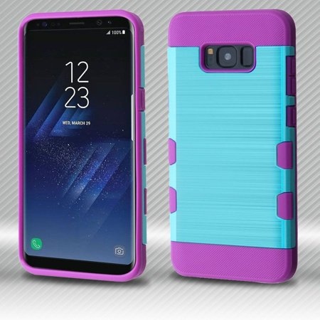 Samsung Galaxy S8+ Case, Samsung Galaxy S8 Plus Case, by Insten Tuff Dual Layer [Shock Absorbing] Hybrid Brushed Hard Plastic/Soft TPU Rubber Case Cover For Samsung Galaxy S8 Plus S8+, Blue/Purple