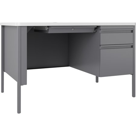 "Lorell Fortress White/Platinum Steel Teachers Desk - 48"" x 30"" x 29.5"" - Box Drawer(s), File Drawer(s) - Single Pedestal on Right Side - T-mold Edge - Material: Steel Frame - Finish: Platinum..."