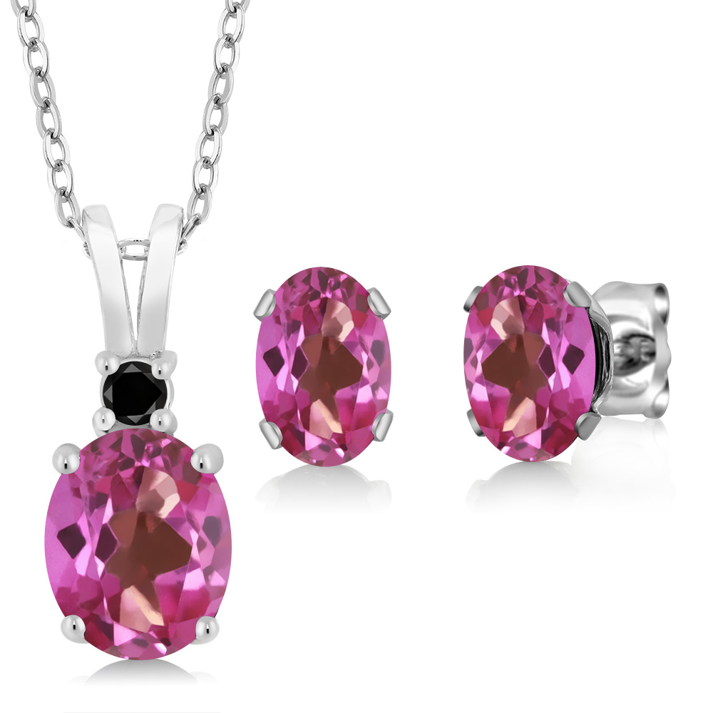 3.47 Ct Oval Pink Mystic Topaz 925 Sterling Silver Pendant Earrings Set by