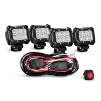 Nilight 4PCS 4 Inch 18W Flood LED Light Bars Led Work Lights Fog Lights Off Road Light Driving Lights With Off Road Wiring Harness, 2 Years Warranty