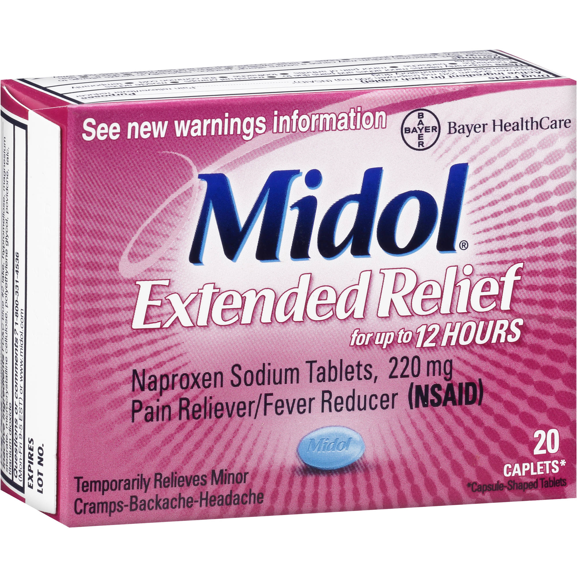 Midol Extended Relief Naproxen Sodium Pain Reliever/Fever Reducer 220mg, 20ct