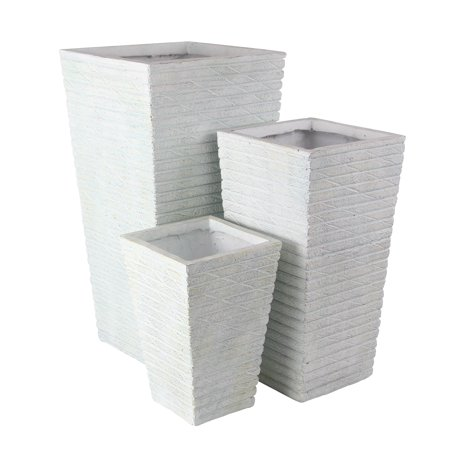 Decmode Farmhouse 16, 24, And 30 Inch Cylindrical Planters - Set of 3