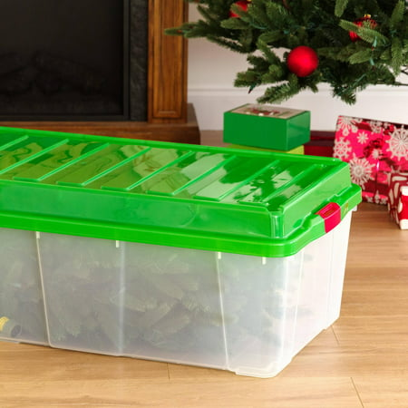 IRIS Tree Storage Tote, Green Lid