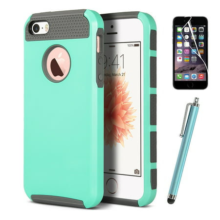 ULAK iPhone 5 5S SE Case with Hybrid Hard Dual Layer Slim Fit Protection Case Cover w/ Screen Protector & Stylus,Mint Green (Polaroid Phone Case Iphone 5)