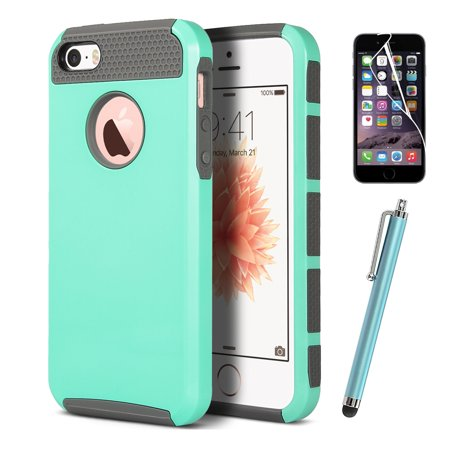 ULAK iPhone 5 5S SE Case with Hybrid Hard Dual Layer Slim Fit Protection Case Cover w/ Screen Protector & Stylus,Mint Green (Banana Silicone Iphone 5s Case)