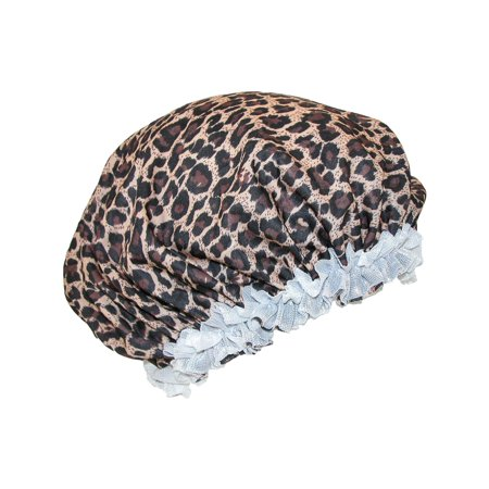 Size one size Women's Satin Leopard Hair Roller Sleep Cap Cover, Leopard