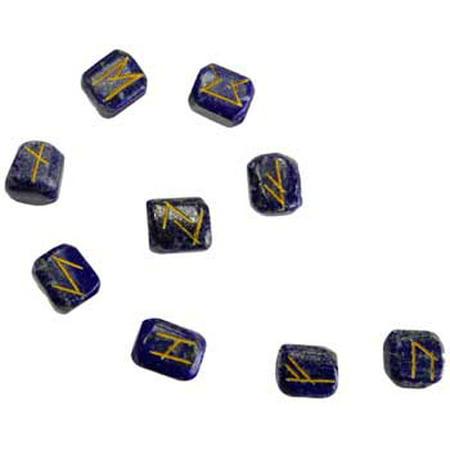 Party Games Accessories Halloween Séance Rune Stone Sets Elder Futhark with Single Blank Divination Lapis Lazuli - Thorn Rune Halloween