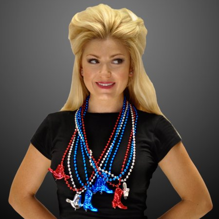 FlashingBlinkyLights Set of 12 Red White & Blue Cowboy Boots and Hat Beaded Necklaces for $<!---->