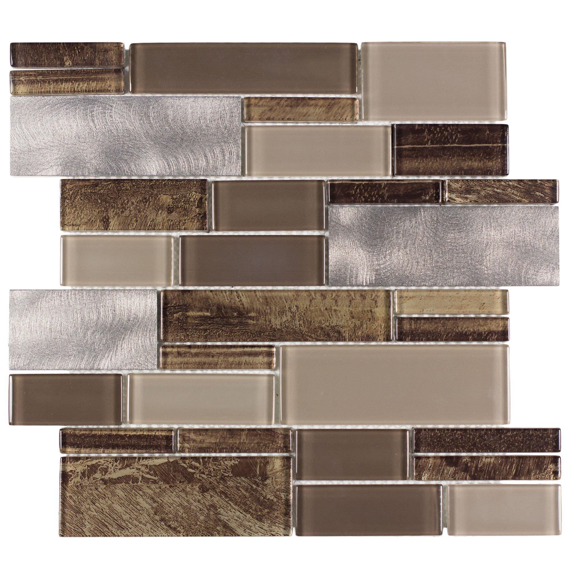Mto0005 Modern Linear Brown Gray Glossy Glass Metal Mosaic Tile Walmart Com Walmart Com