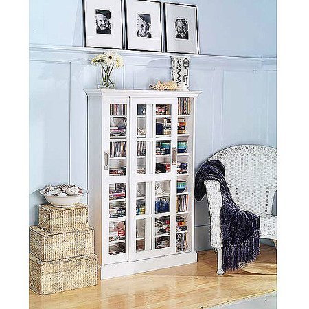 Sliding Door Media Cabinet White Walmart