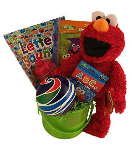 Kids Sesame Street Elmo Themed Gift Basket For Boys Or Girls Plush Toy Coloring by LIVEDITOR LIGHTING