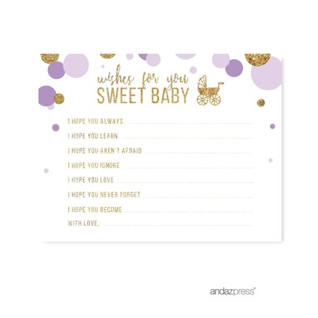 Wishes for Baby  Lavender Gold Glitter Baby Shower Games, 20-Pack