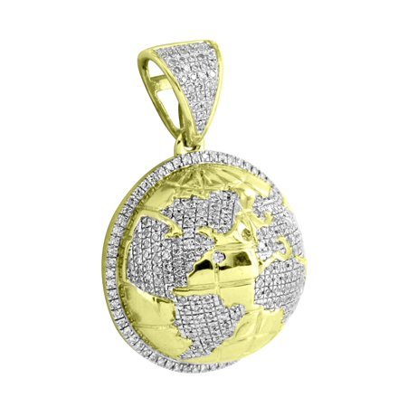 "World Map Design Pendant 10k Yellow Gold 0.62 Ct Real Diamonds 3D Round Charm 1.2"""