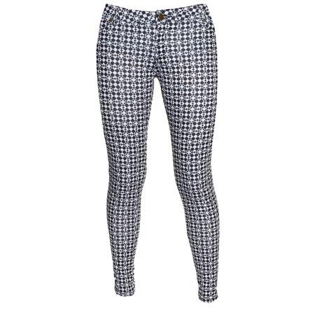 ce9e8b3b5ad6f Linda Michael - Linda Michael Womens Skinny Stretch Ponte Knit Pants (Black  White Diamond, Large) - Walmart.com