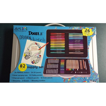 Doodle Draw & Sketch Supply Set, 82 Piece, 26 Perma Markers By Art 101 Ship from US
