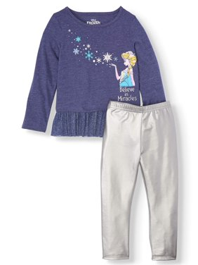 Disney Frozen Elsa Toddler Girl Long Sleeve Flounce Tunic & Metallic Leggings, 2pc Outfit Set