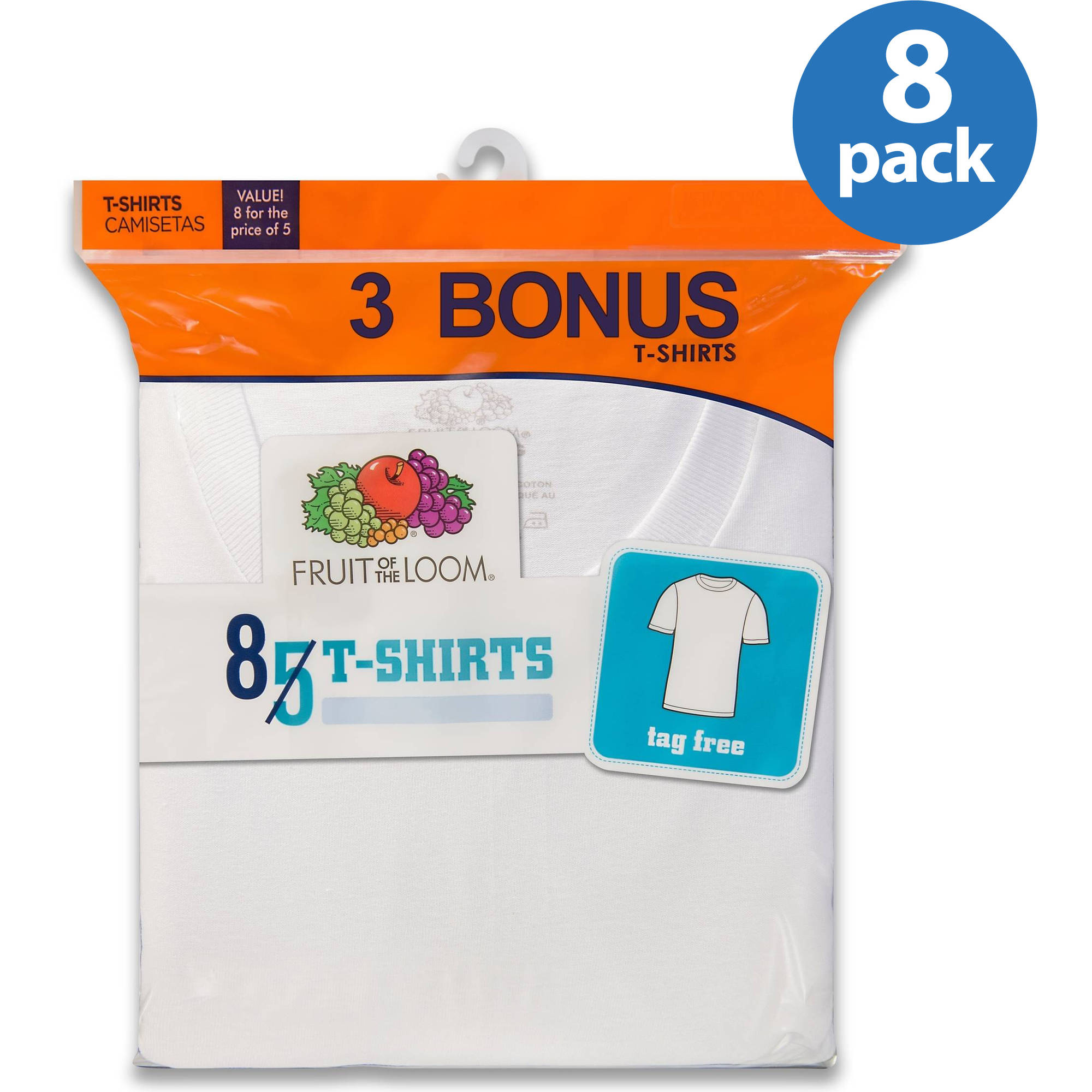 Fruit of the Loom Boys' White Short Sleeve Crew T Shirts, 5+3 Bonus Pack