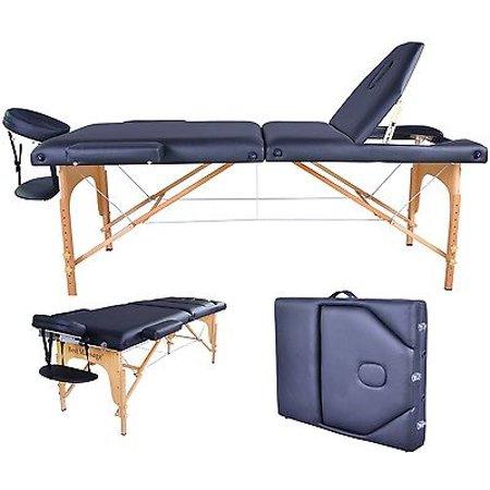 Reiki Table (BestMassage Black PU Reiki Portable Massage Table W/Carry Case U9)