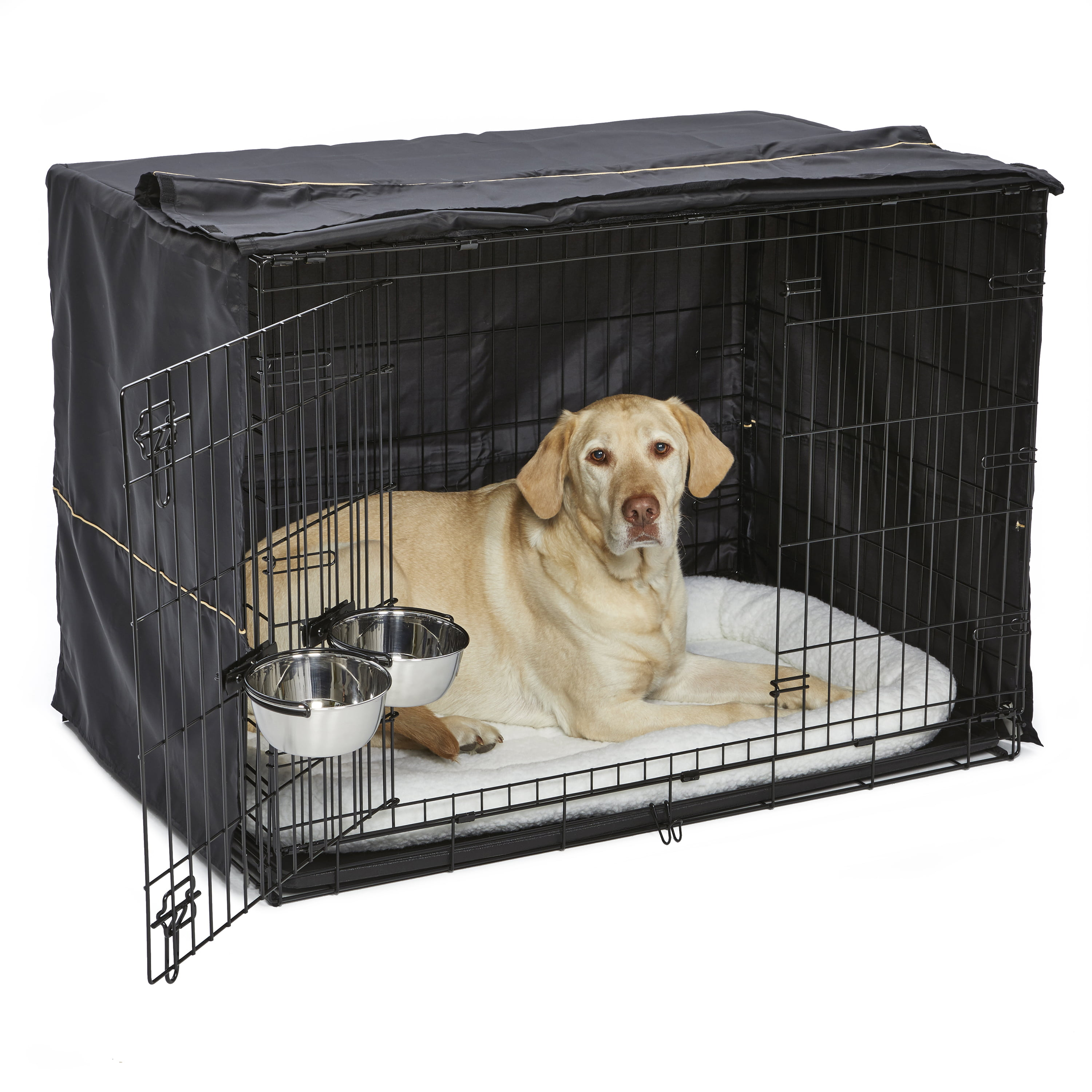 MidWest Homes for Pets Large Dog Crate Starter Kit | One 2-Door iCrate, Pet Bed, Crate Cover & 2 Pet Bowls |... by Mid-West Metal Prodcuts, Inc.