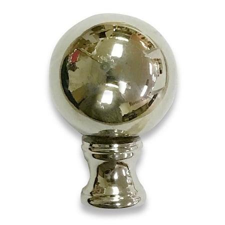 Ball Lamp Finial - Royal Designs Large Ball Lamp Finial for Lamp Shade- Polished Silver