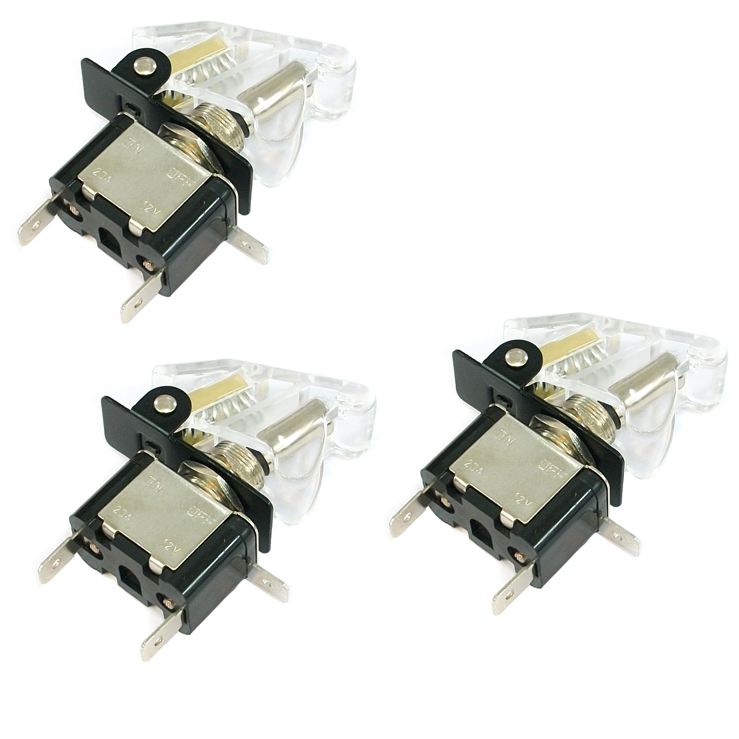 TrendBox 3 Sets Toggle Flick SPST Switch 12V 20A ON//OFF Control Car Truck Boat ATV Airplane AMBER LED Light + CLEAR Auto Cover