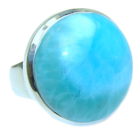 Natural Larimar .925 Sterling Silver handcrafted  Ring s. 9 by SilverRush Style