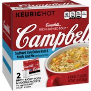 Campbells Fresh-Brewed Soup Southwest Style Chicken Broth & Noodle Soup Mix Coffee Podss, 0.60 oz, 2 ct
