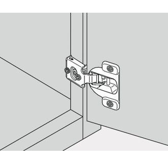 "B38N358B.08 COMPACT 1/2"" Overlay Wrap Around Press-In Hinge with Soft Close Feature, Nickel, soft close hinges two hinges By Blum"