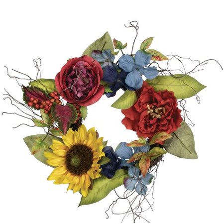 Charlton Home Summer Mixed Floral Accent 15'' Polyester Wreath (Diy Summer Wreath)