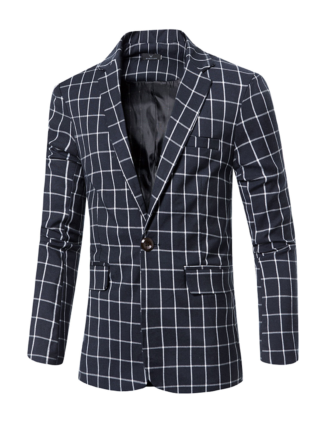 Men's Notched Lapel Checks One-Button Pockets Blazer Blue S