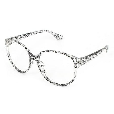 Clear Black Plastic Leopard Pattern Teardrop Style Spectacles ...