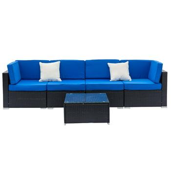 Zimtown 5-Pieces Outdoor Patio Garden Furniture Sectional Sofa Set