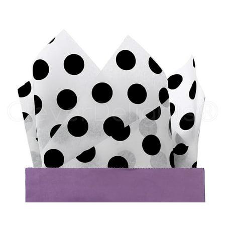- CleverDelights Black Polka Dot Premium Tissue Paper - 100 Sheets - 20