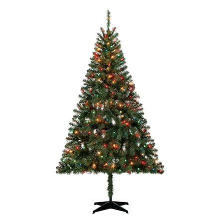 Holiday Time Pre-Lit 6.5' Madison Pine Green Artificial Christmas Tree, Multi-Lights ()