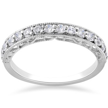 Pompeii3 1/2ct Vintage Diamond Wedding Ring in White Gold