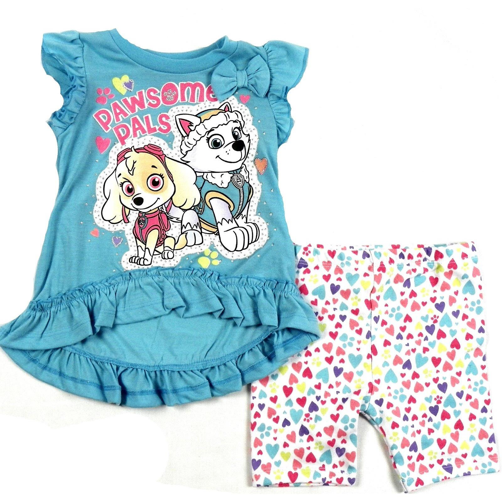 Paw Patrol Toddler Girl's Bike Short Set with Tunic, Pawsome Pals