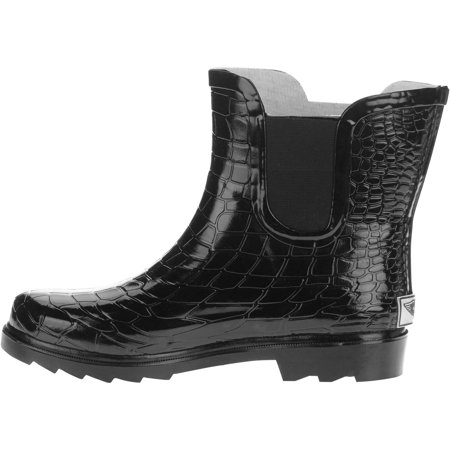 Forever Young Ladies Ankle Length Croc Texture Rain Boots