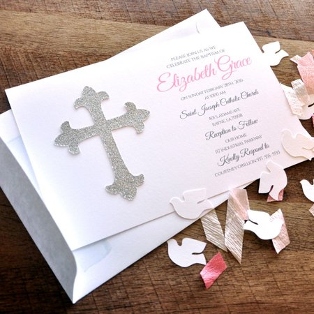 Baptism Invitations and Envelopes. We Print, Cut, Glue and Ship to You in 1-3 Business Days. Girl Christening Invitations.