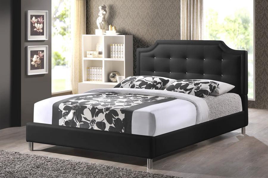 Skyline Decor Carlotta Black Modern Bed, Upholstered Bed Frame Queen Black