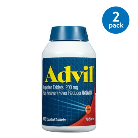 (2 Pack) Advil (300 Count) Pain Reliever / Fever Reducer Coated Tablet, 200mg Ibuprofen, Temporary Pain