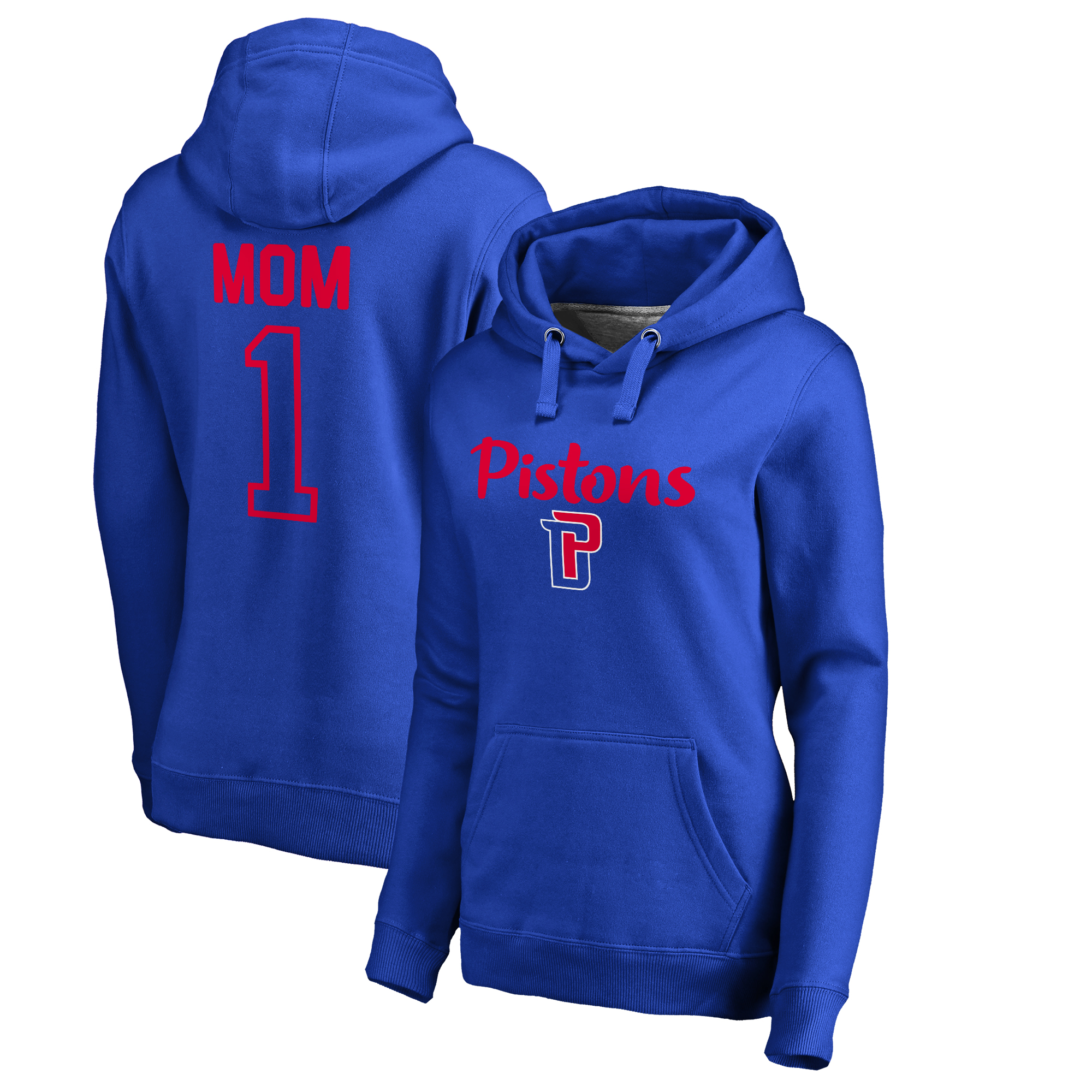 Detroit Pistons Fanatics Branded Women's Plus Sizes Number 1 Mom Pullover Hoodie - Royal