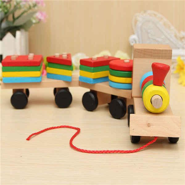 Wooden Building Blocks Stacking Train Peg Puzzles Games Toddlers Educational Baby Kid... by