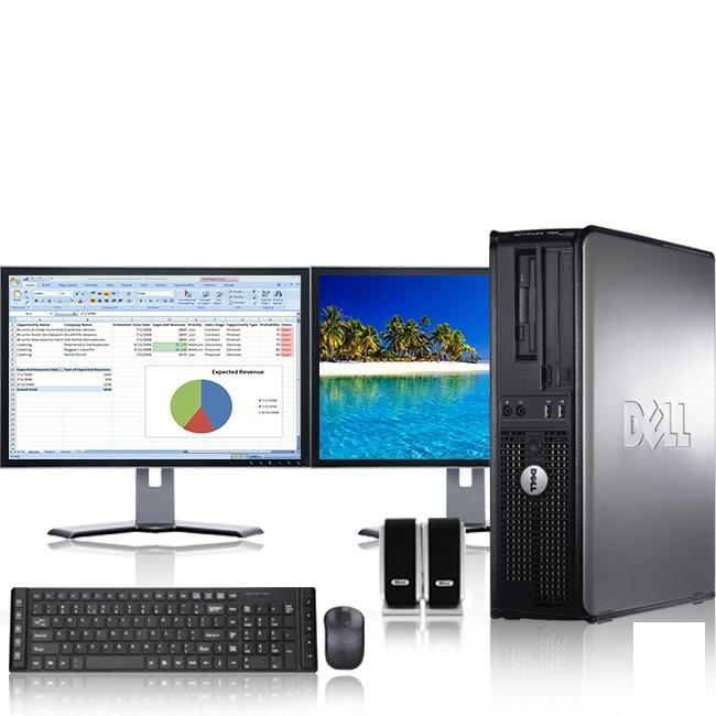 """Dell Optiplex Desktop Computer 2.9 GHz Core 2 Duo Tower PC, 8GB RAM, 1 TB HDD, Windows 7, ATI , Dual 19"""" Monitor (Brands Vary), Wireless Mouse & Keyboard"""