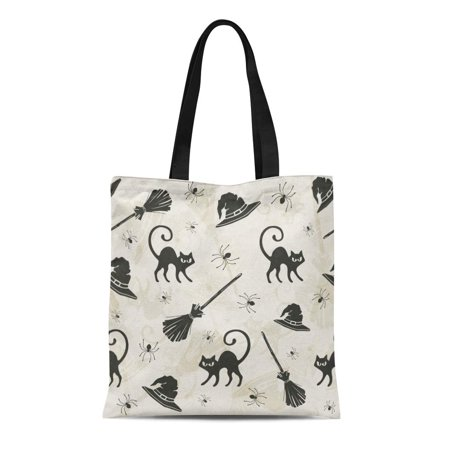 Halloween Cat Silhouette Pattern (ASHLEIGH Canvas Tote Bag Pattern Halloween Cats Brooms and Witch Hats Silhouette Black Durable Reusable Shopping Shoulder Grocery)