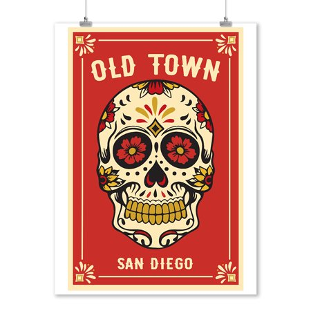 Old town San Diego - Day of the Dead - Sugar Skull and Flower Pattern (Red) - Lantern Press Artwork (9x12 Art Print, Wall Decor Travel Poster)](Day Of The Dead Flower)