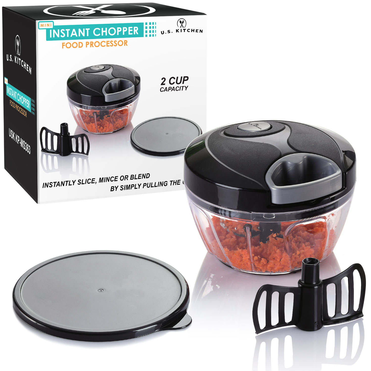 U.S. Kitchen Supply Mini Instant Chopper Food Processor with Chopping & Mixing Blades - Slice, Mince or Blend Vegetables