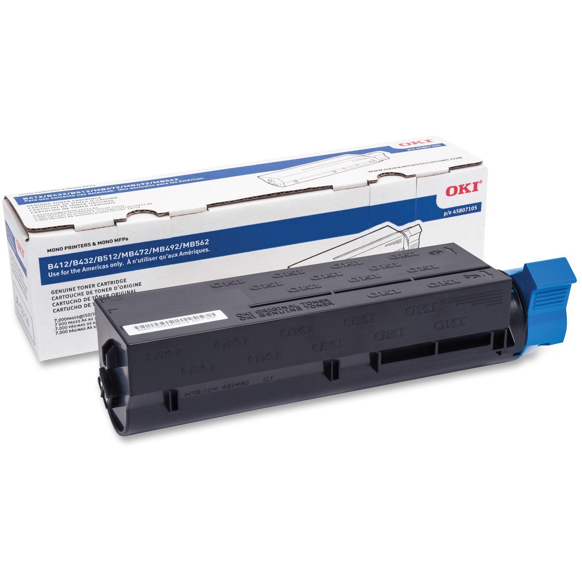 Oki, OKI45807105, B412/B432/MB472 High-Yield Toner Cartridge, 1 Each